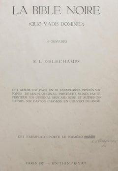 La Bible Noire - Rare Complete Suite of Etchings by R.L. Delechamps - 1921