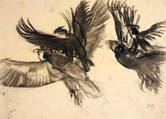 Vultures - Original Charcoal Drawing by Renato Brozzi - Early 1900