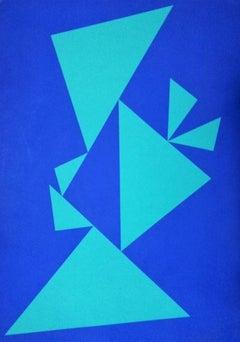 Blue Composition - Original Screen Print by Lia Drei - 1972
