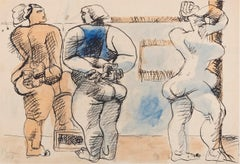 Trois Femmes Debout - Original China Ink Drawing and Watercolor by Le Corbusier