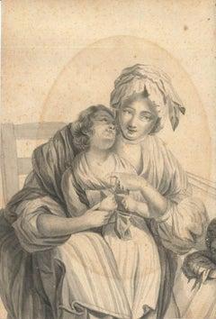 Virgin Mary with child Jesus - Original Gouache on Cardboard by H.J. Dubouchet