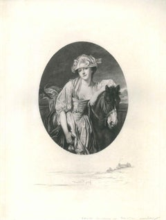 Woman with Horse - Original Etching and Drypoint by J. Patricot - Late 1800