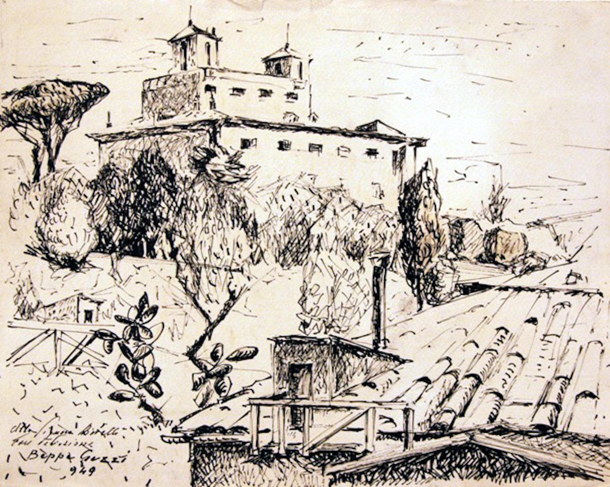 Villa Medici / Rome - Original Ink Drawing by Beppe Guzzi - 1949