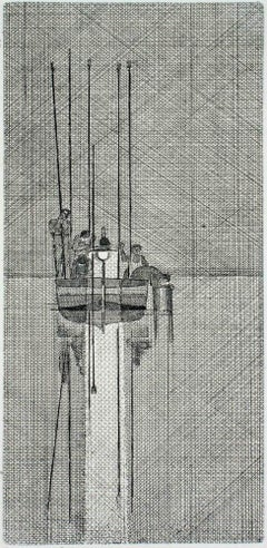 Fishing Boat - Original Etching by Bruno Caruso - Second Half of 1900