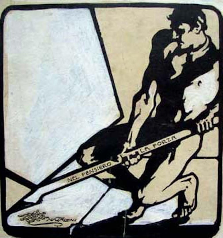 Giovanni Mataloni Figurative Art - Manifesto of Socialism - Original Ink Drawing by G. Mataloni - 1905