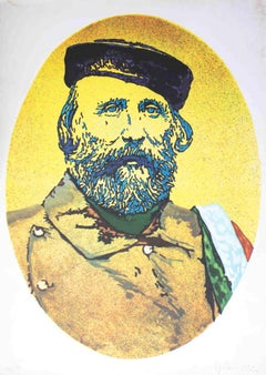 Portrait of Giuseppe Garibaldi - Original Screen Print by G.G. Spadari - 1982