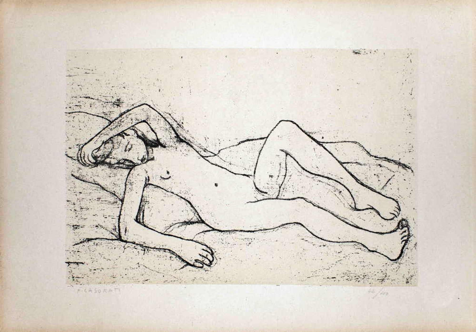 Lying Nude Woman - Original Lithograph by Felice Casorati - 1946
