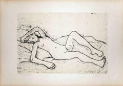 Lying Nude Woman - Original Lithograph by Felice Casorati - 1946