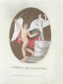 L'Amour de la Patrie - Original Etching by F.M. Beaurain and J.-B. Malle