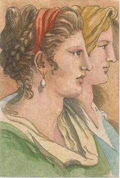 Women Profiles - Original China Ink and Watercolor