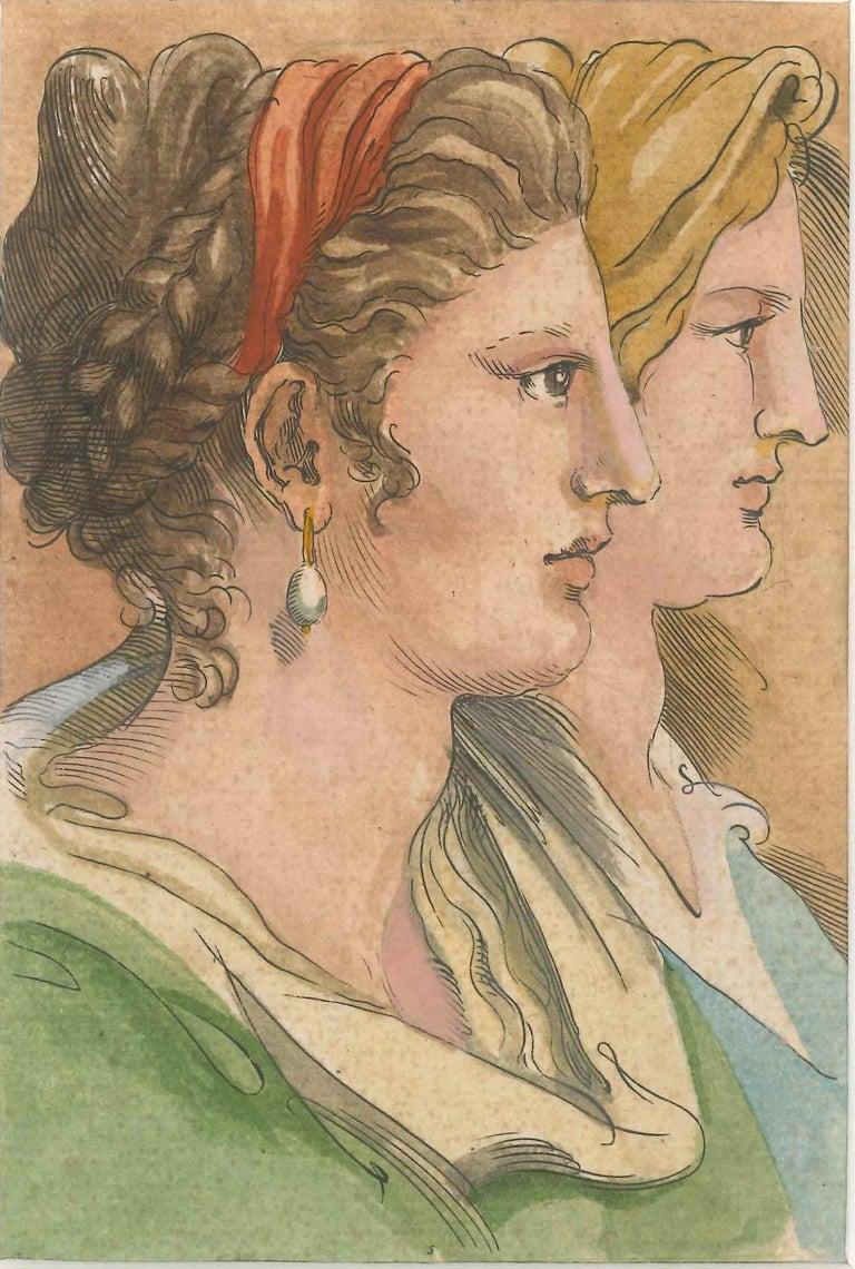 Unknown Figurative Art - Women Profiles - Original China Ink and Watercolor