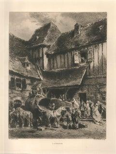 L'Auberge - Original Etching by H.-C. Toussaint - 1870s
