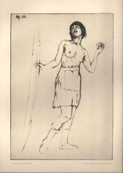 Tanzerin - Original Etching by C.A. Reichel - 1917