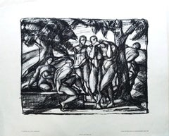 Idyll - Original Lithograph by Otto Hettner - 1917