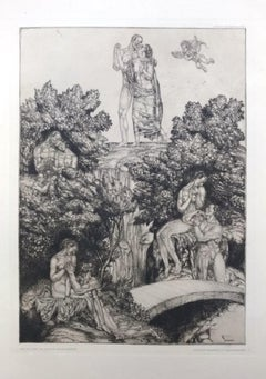 Die Gefilde der Seligen - Original Etching by J. von Diveki - 1917