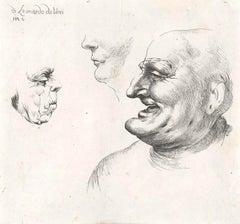 Three Grotesque Heads After Leonardo da Vinci - Late 17th Century
