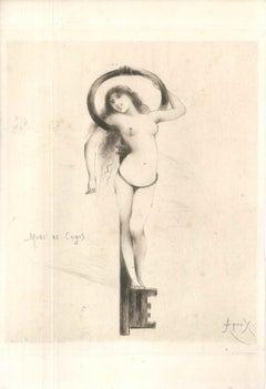 Mori me Cogis - Original Etching by Joseph Apoux - 1880s
