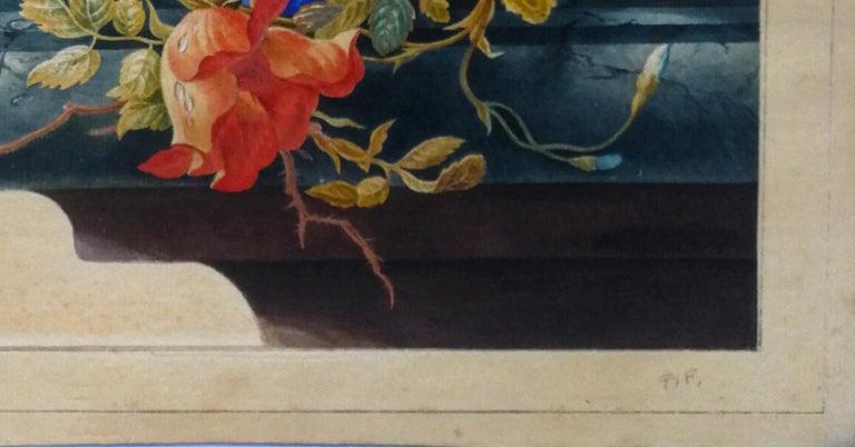 Vanitas still Life - Original Tempera and Watercolor After Herman Henstenburgh - Beige Still-Life by Cornelis Van Spaendonck (attr.)