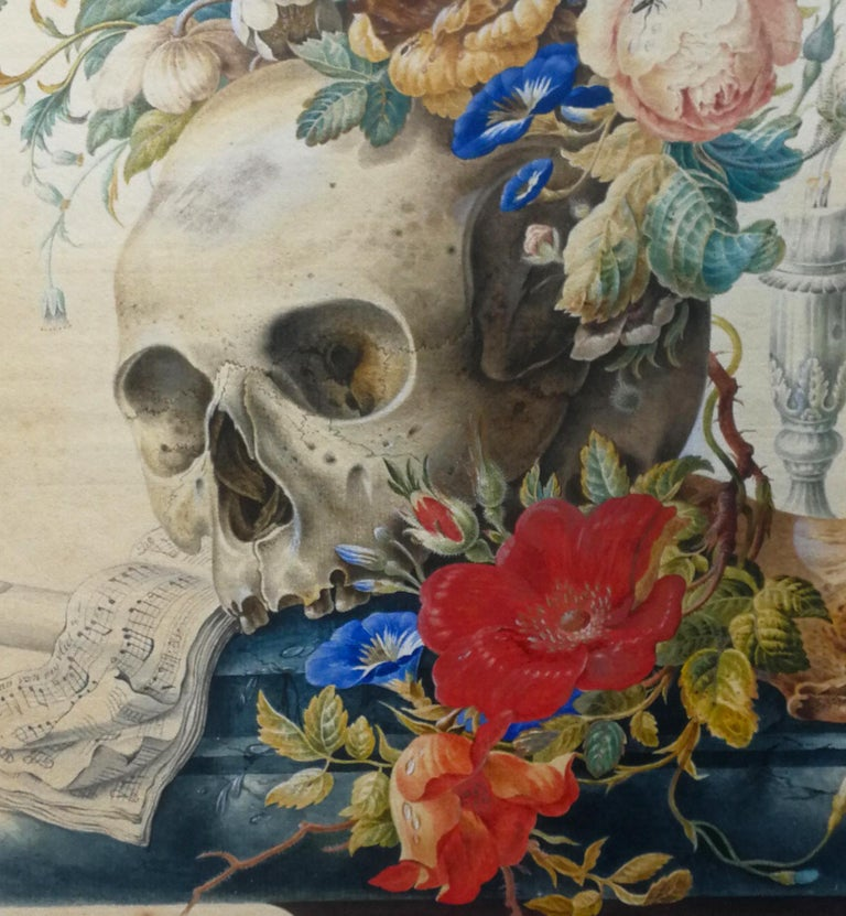 Vanitas still Life - Original Tempera and Watercolor After Herman Henstenburgh - Art by Cornelis Van Spaendonck (attr.)
