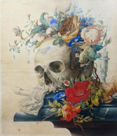 Vanitas still Life - Original Tempera and Watercolor After Herman Henstenburgh