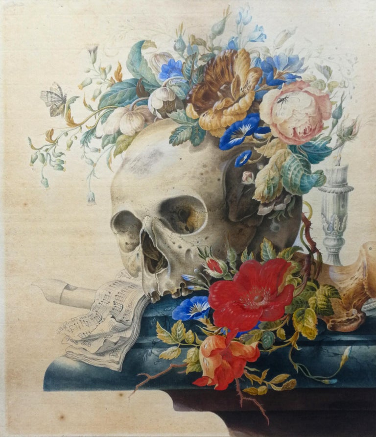 Cornelis Van Spaendonck (attr.) Still-Life - Vanitas still Life - Original Tempera and Watercolor After Herman Henstenburgh