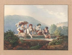 Women at the Source - Watercolor by an Italian School Artist of 19th Century