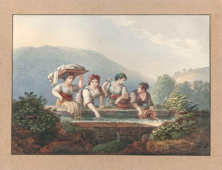 Unattributed Figurative Art - Women at the Source - Watercolor by an Italian School Artist of 19th Century