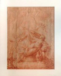The Abduction Of Europe - Original Drawing on paper in red chalk