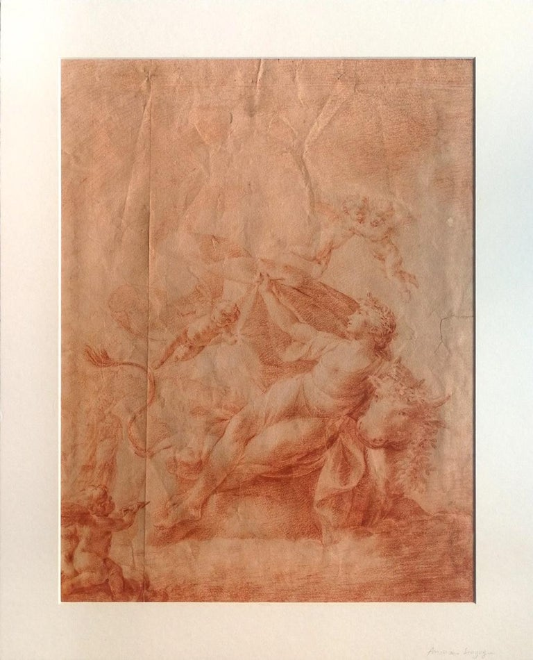 Unattributed Figurative Art - The Abduction Of Europe - Original Drawing on paper in red chalk