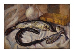 Still Life with Fishes - Original Oil on Wood Panel