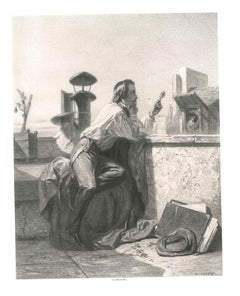 Offering a Flower - Original Lithograph by J. B. V. Loutrel - Mid 19th Century