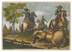 Battle Scene - Original Etching Hand Watercolored After Antonio Simonini - 1760