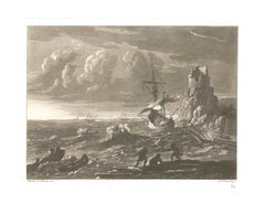 Liber Veritatis - Plate 34 - Original B/W Etching after Claude Lorrain - 1815