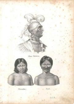 Mico Chlucco, Miranha, Juri - Original Lithograph 1827 ca.