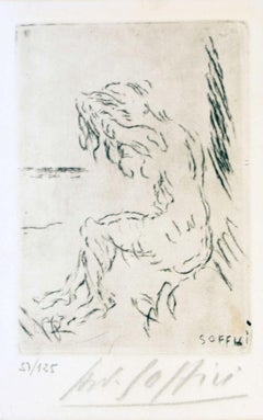 Nude on the Beach - Original Etching and Drypoint by A. Soffici - 1957