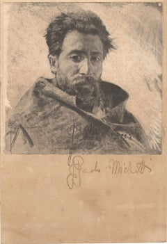 Portrait of Man - Original Pencil and Charcoal Drawing by F.P. Michetti - 1890s