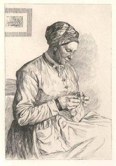 La Ravaudeuse de Cesson - Original Etching by P.E. LeRat - 1874