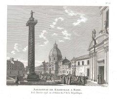 Assassinat de Basseville à Rome - Original Etching by P.G. Berthault - 1793