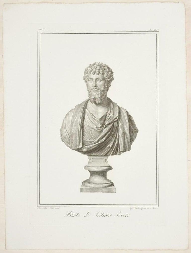 Giovan Battista Leonetti Figurative Print - Bust of Septimius Severus - Original Etching by G.B. Leonetti After B. Nocchi