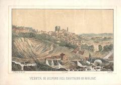 View of Sepino - Original Lithograph by F- Cirelli - Mid 19th Century