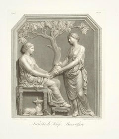 Birth of Telefon, on a Bas-Relief - Original Etchingg by A. Campanella