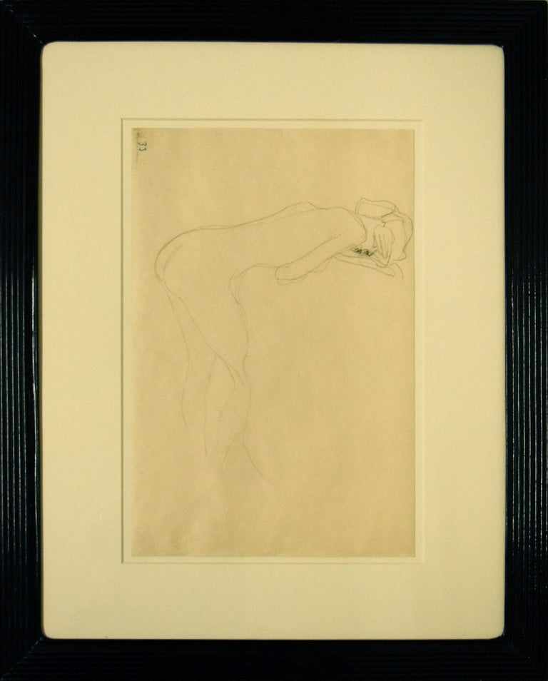 Nude of Woman Reclined On the Back of a Chair on the Right - Original Drawing - Vienna Secession Art by Gustav Klimt