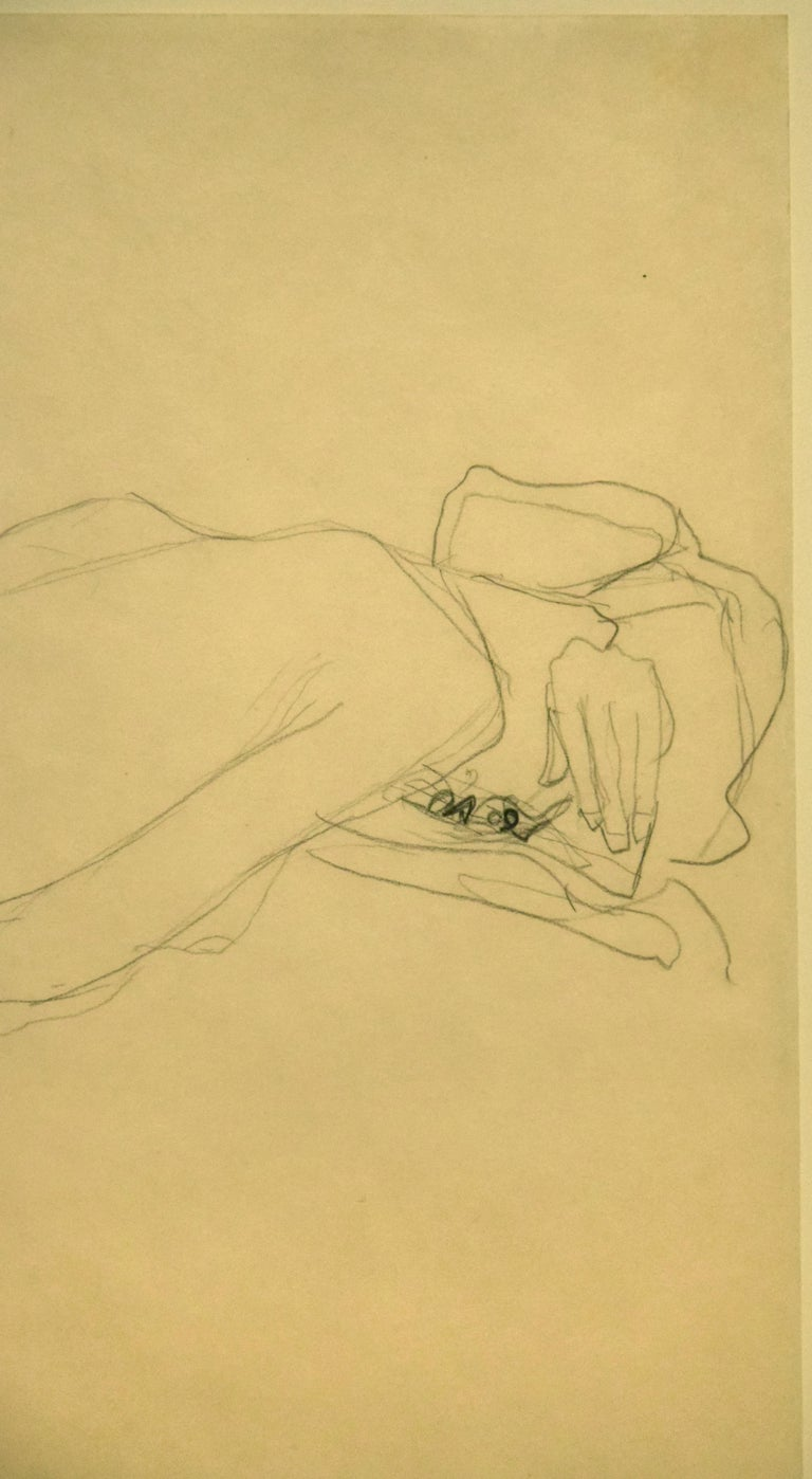 Nude of Woman Reclined On the Back of a Chair on the Right is an original drawing realized by Gustav Klimt between 1904 and 1906, probably in 1905, as stated in the Catalogue Raisonné by Alice Strobl.   Charcoal on nacred paper. Passepartout