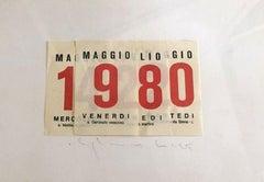 Calendar - Original Collage by Alighiero Boetti - 1980
