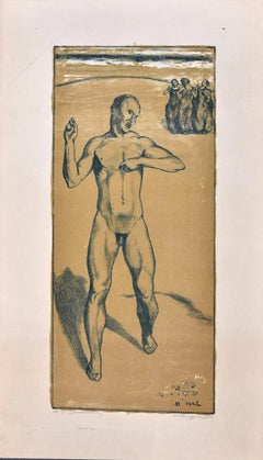 Nude of a Man - Original Hand Colored Lithograph by Max Lingner