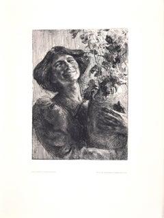 Junge Frau mit Blumenvase - Original Etching by Karl Koepping - 1910