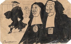 The Priest - Original China Ink Early 20th Century
