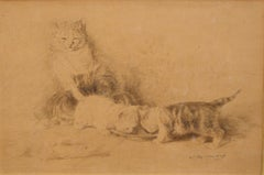Three Little Cats - Original China Ink Drawing by L.-E- Lambert - 1890 ca.