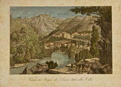 Ancient View of Bagni di Lucca - Original Etching by A. Zuccagni-Orlandini- 1845