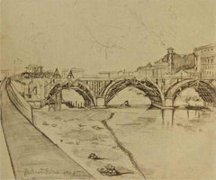 View of Ponte Duca D'Aosta (Rome) Under Construction - Original Drawing